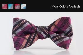 Plaid Raspberry Bow Tie Tuxedo Accessories