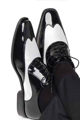 'Manhattan' Black & White Shoes Tuxedo Accessories